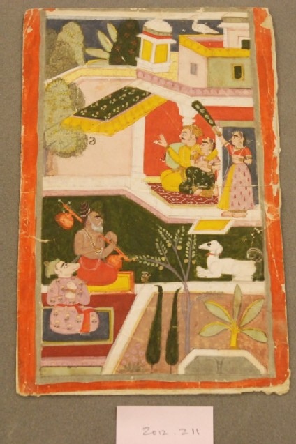 A couple listening to musicians, illustration to Shri Raga