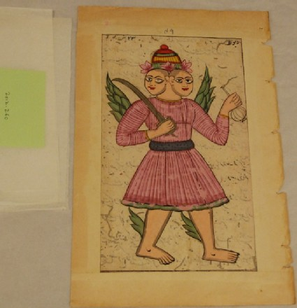 A double-headed winged figure holding a sword and a gulabpash