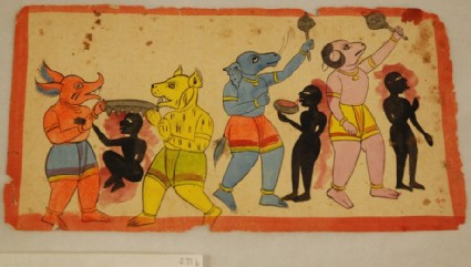 Four demons tormenting the souls of three sinners