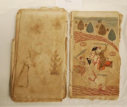 Three warriors in battle, illustrating the musical mode Deshi Ragini