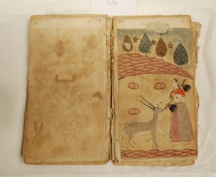 Lady with a vina and blackbuck, illustrating the musical mode Todi Ragini
