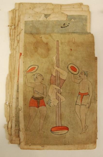 Three athletes or acrobats, illustrating the musical mode Nata Ragini
