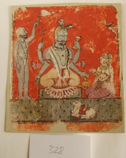 Shiva seated in chamber, with attendant and female devotee, and Nandi