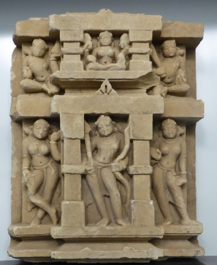 Temple relief depicting Rama with bow and arrow with five attendant figures