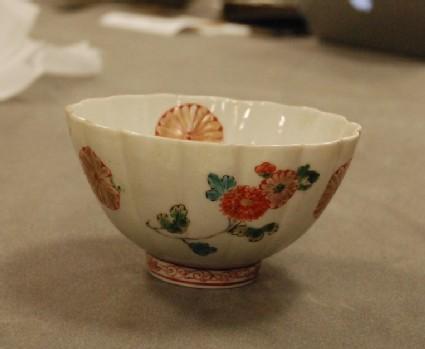 Fluted bowl with kikumon and peony sprays