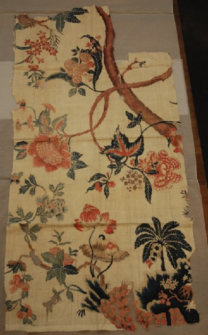 Chintz fragment with flowering tree design