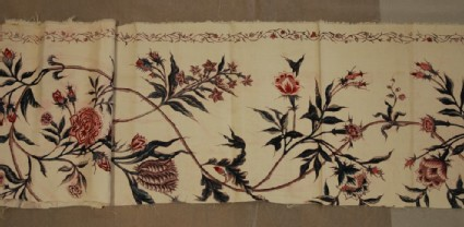 Chintz fragment with meander pattern with trailing floral stems