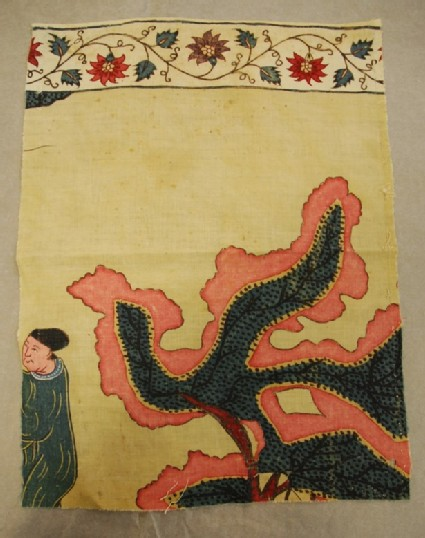 Chintz fragment with part of a stylised tree and male figure, possibly Chinese