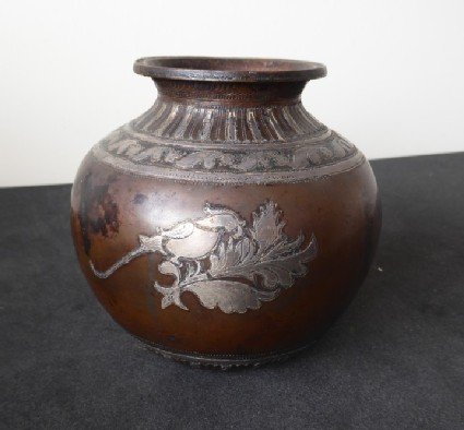 Lota with Silver inlays, including parrot on a leafy branch