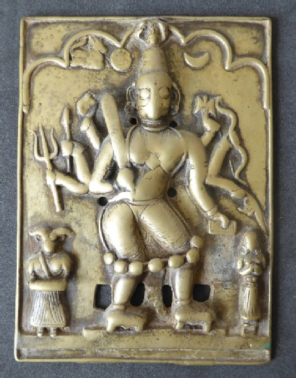 Plaque with eight-armed deity, probably Virabhadra, and two attendants