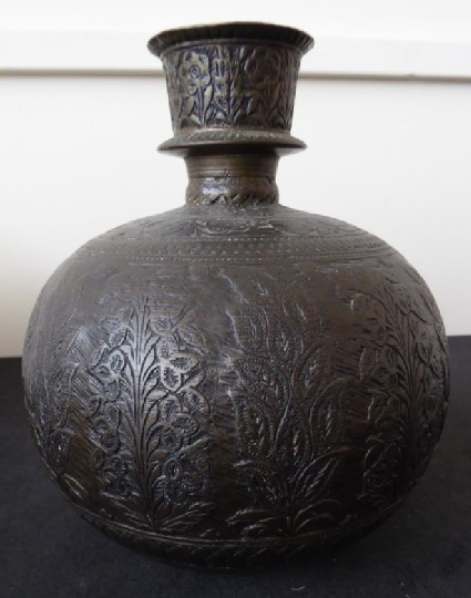 Hookah base with tall flowering plant motif