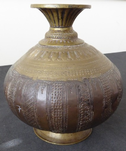 Lota, or water vessel, with alternating plain and decorative bands