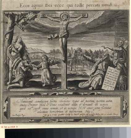 A crucifix surrounded by allegorical figures