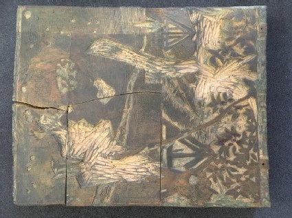 One of five woodblocks for La Cueille des Pommes (The Apple Harvest)