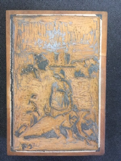 One of three woodblocks for Essai: Sarcleuse