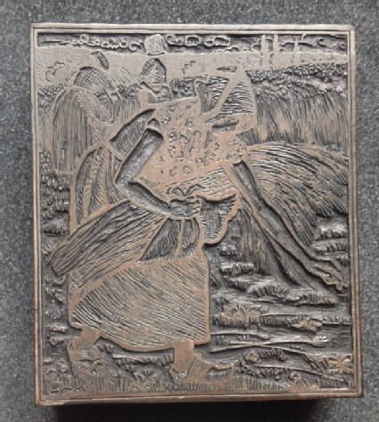 Woodblock for Ruth Gleaning (Book of Ruth)