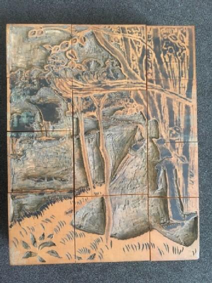 One of three woodblocks for C'est d'Aucassin et Nicolette'