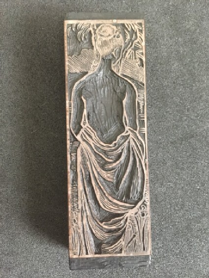 Woodblock for Baigneuse, line block