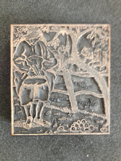 Woodblock for Girl Collecting Apples