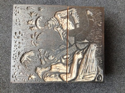 Woodblock for Three Children on a Lawn