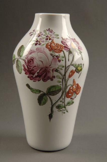 Vase of baluster shape decorated with old English flowers