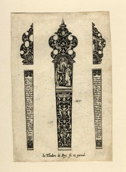 Grotesque design for a knife handle, with the scene of Christ joining a man and woman, flanked by two half-designs for the back of the handle with varying finials