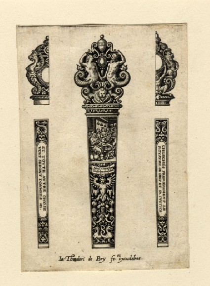 Grotesque design for handle with scene of the Marriage at Cana with Christ, flanked by two half-designs with varying finials for back of the handle