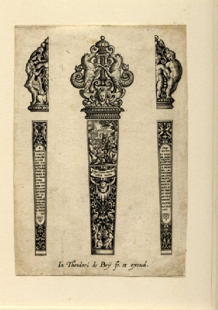 Grotesque design for a knife handle with Matthew and Christ helping people in centre, flanked by two half-designs for the back of the handle with varying finials