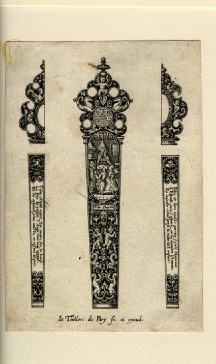 Grotesque design for knife handle with scene of Tobias and Sarah praying by a fire in centre, flanked by two half-designs for the back of the handle