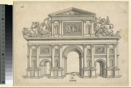 Architectural design for a triumphal arch with probably the Moirai at top, Cupid aiming for a duck at top left and a putto playing the trumpet at top right