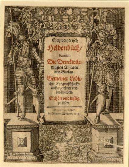 Title-page with two knights, coats of arms at top and a battle at bottom