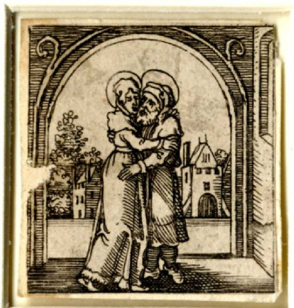 Saint Anne and Joachim embracing under the Golden Gate