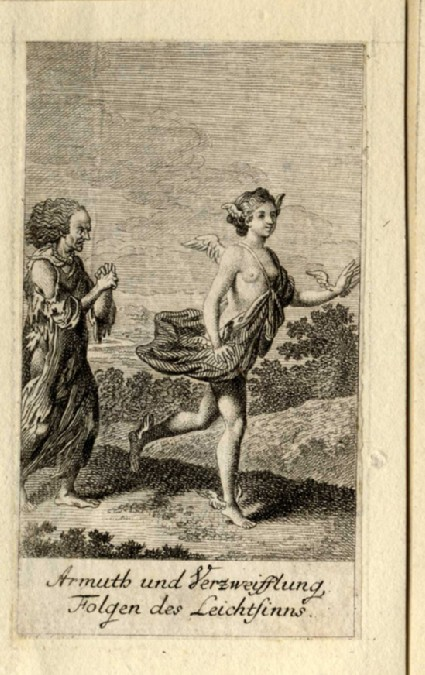 Mercury chased by a woman in ragged clothes