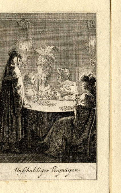 The woman playing cards with men
