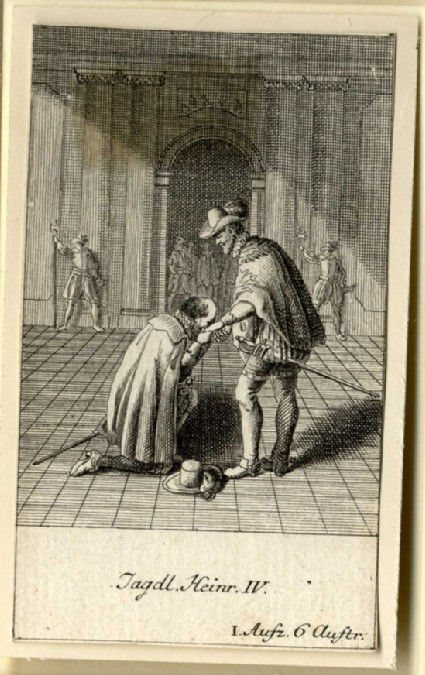 A man kneeling to kiss Henry IV's hand
