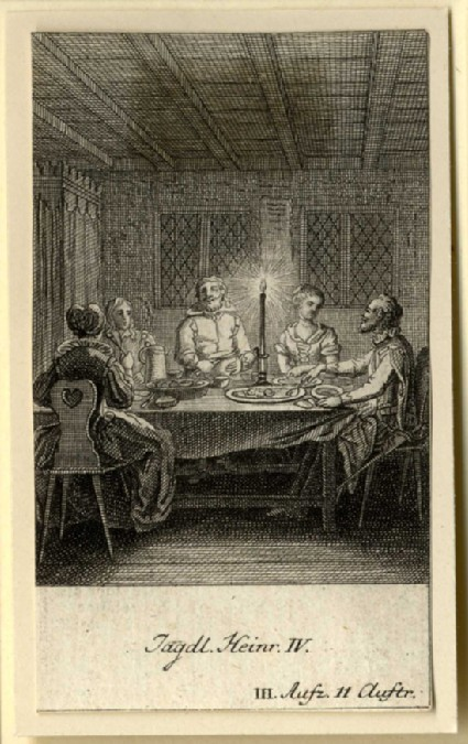 Three men and two women having supper
