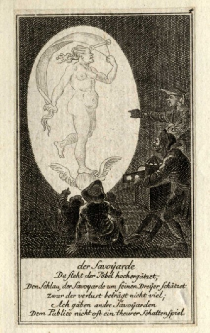 A man projecting the image of Fortuna