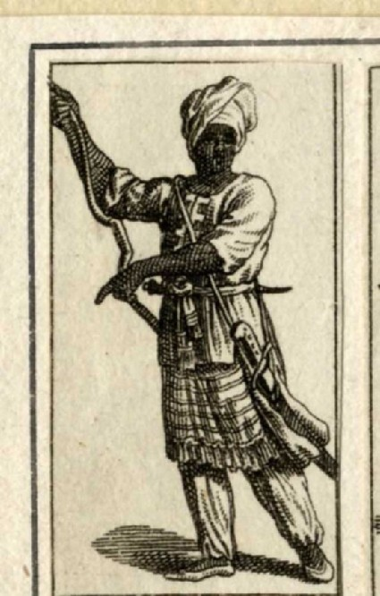Indian man wearing a turban, with a saber hanging from his belt