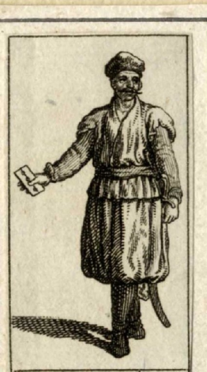 Turk wearing a turban, holding a playing card in his hand