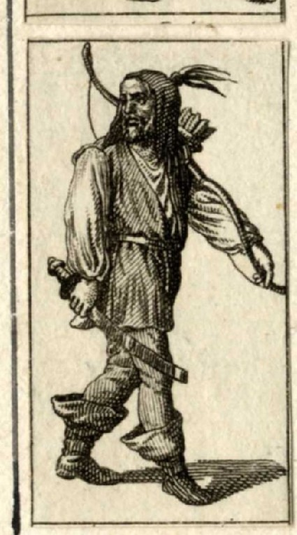 A Native American with bow, quiver and sword