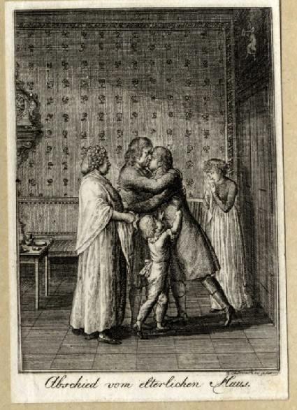Ludwig taking leave of his family as he is about to go to university