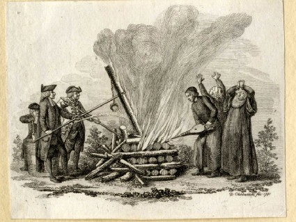 Catholic theologians erecting and fanning a pyre while Protestant theologians attempt to exstinguish the flames at right