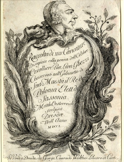 Title page to the Raccolta di XXIV Caricature Disegnate colla penna dell Celebre Cavallier Piet: Leon: Ghezzi