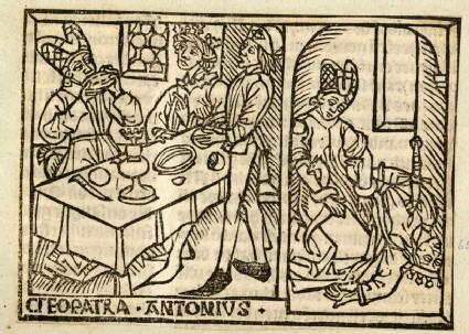 Recto: Cleopatra and Antonius<br />Verso: letterpress