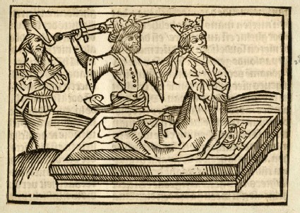 Recto: Neoptolemus sacrificing Polyxena<br />Verso: letterpress