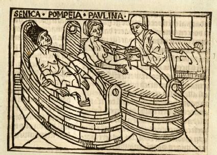 Recto: Seneca and Pompeia Paulina commiting suicide<br />Verso: letterpress