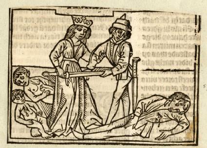 Recto: Berenice killing a man<br />Verso: letterpress