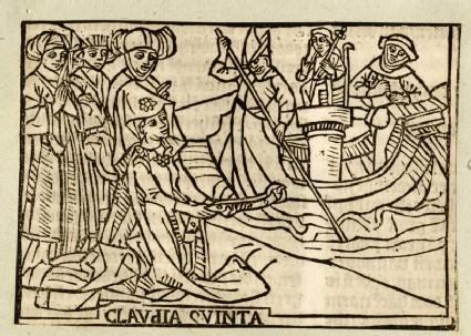 Recto: Claudia Quinta towing Cybele's ship<br />Verso: letterpress