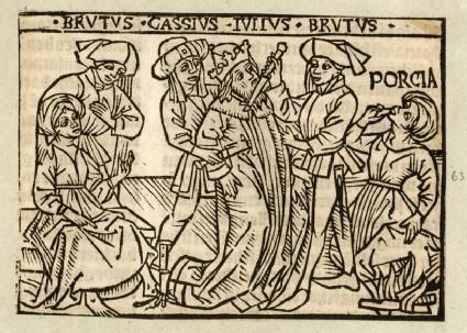 Recto: Death of Julius Caesar<br />Verso: letterpress