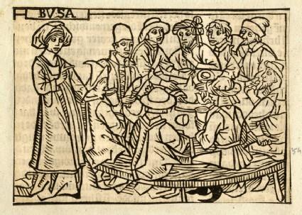 Recto: Busa feeding the fugitives from Cannae<br />Verso: letterpress